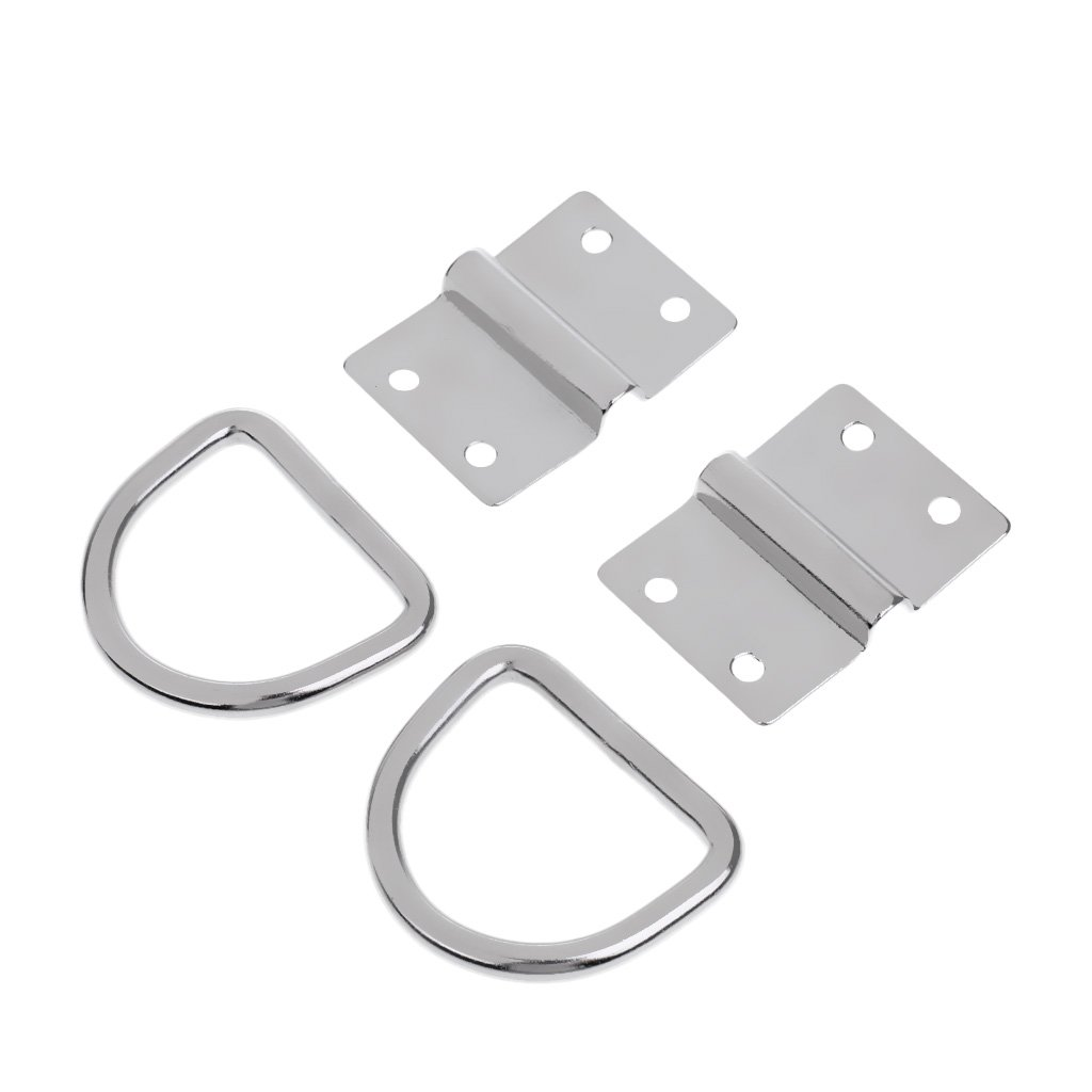 MagiDeal 316 Stainless Steel Lashing Ring & Staple Cleat, Surface Mount Tie Down D Ring for Boat Trailer, 2-Pack EXPN029676