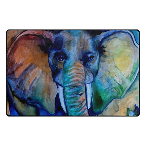 INGBAGS Super Soft Modern Watercolor Elephant Area Rugs Living Room Carpet Bedroom Rug for Children Play Solid Home Decorator Floor Rug and Carpets 60 x 39 Inch