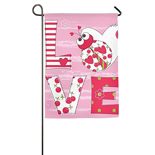 Destiny'S Flag Personalized Garden Flag - Pink Love Ladybug Flag 12.5 x 18 Inches ()