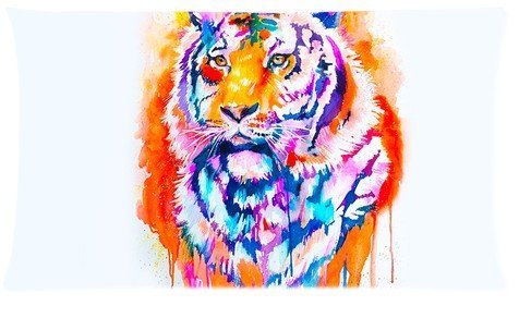 Tiger Color Painting Pillowcase 20x36 (one side) Custom Rectangle Pillow Cover (Creative Couples Costume)