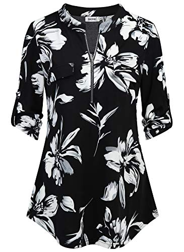 BEPEI Tunic Tops for Women 3/4 Sleeve,Juniors Lightweight Feminine Detail Back Pictuck A Line Chiffon Tunics Chic Loft Classy Soft Shirt Collar Deep V Neck Blouses Boutique Clothing Black White XL