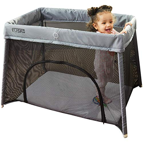 Flisko 2 in 1 Travel Crib & Bassinet - Lightweight, Pack Play-Yard for Infants & Toddlers. Simple Assembly & Easily Collapsible. Portable Crib, Baby Bed. Mattress & Fitted Sheet Included