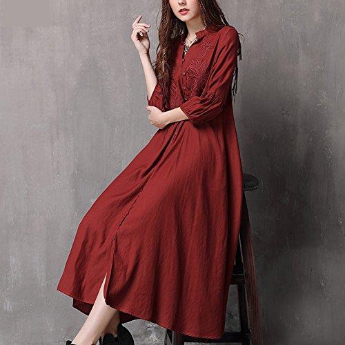 Maxi Retro DISSA LHA82087 Langarm Kleid Kleider Linie A Red Damen Partykleid qXZTw