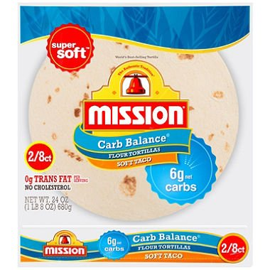 Mission Low Carb Soft Taco Flour Tortilla's 24 oz 2/8 ct Twin Pack CRC Kosher Total of 24 oz 16 Tortillas (Flour Tortillas Lard)