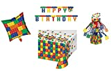Birthday Party Decorations (Tablecloth, Centerpiece, Balloon, Banner) Brick Building Blocks Theme 4-Piece Bundle
