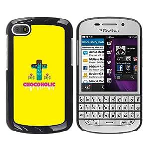 QCASE / BlackBerry Q10 / chocoholic dieta peligro dulces de azúcar comida sana / Delgado Negro Plástico caso cubierta Shell Armor Funda Case Cover