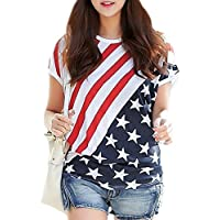 For G and PL Women's July 4th American Flag Print Shirts Patriotic Stripe Star Tops