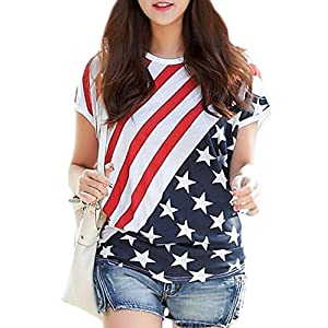 2f4f2221 For G and PL Women's July 4th American Flag Print Shirts Patriotic Stripe  Star Tops