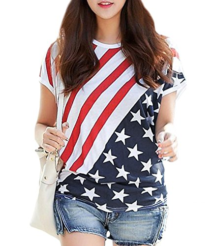Inside Out Striped Shirt - Women July 4th American Flag Print Short Sleeve Striped Star Patriotic Loose Cotton T Shirt Tops US Flag XXL