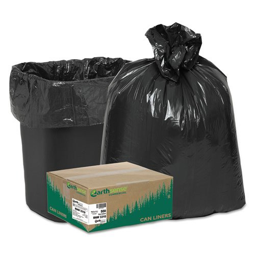 Earthsense Can Liners, 16 Gallons,0.65 Milliliters, 24 x 31, Black, 500/Carton (RNW3310) by Earthsense