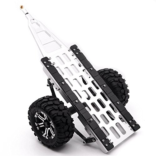 1/10 Leaf Spring Aluminum Hitch Mount Trailer with Wheels for RC Crawler Car Silver