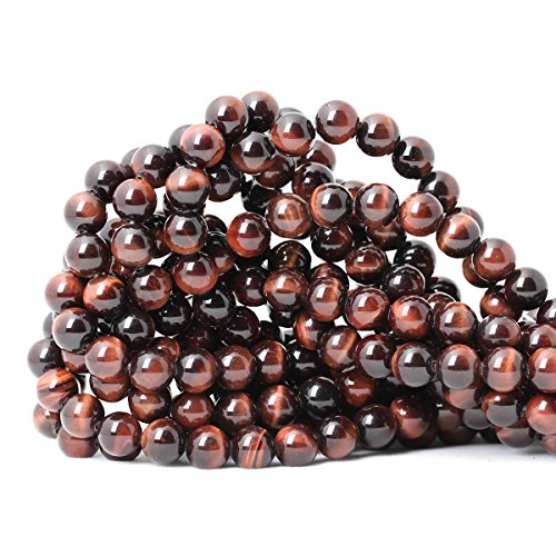 (CHEAVIAN 45PCS 8mm Natural Red Tiger Eye Gemstone Round Loose Beads for Jewelry Making DIY Findings 1 Strand 15