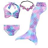 GALLDEALS 3PCS Girls' Swimsuit Mermaid Tail for Swimming Princess Bikini Set Swimsuit Bathingsuit (No Monofin)