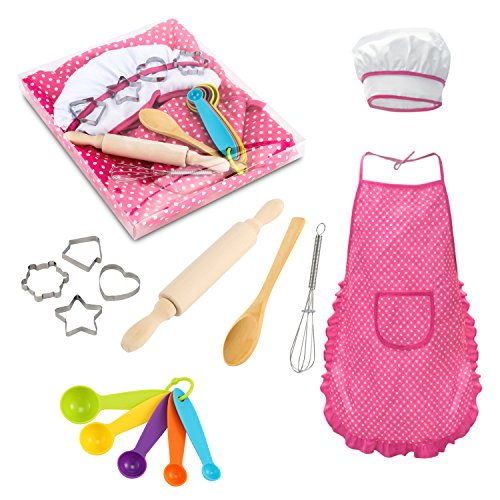 Glonova Chef Set for Kids, 17 Pcs Children Cooking Set for Boys Girls Toddler Role Play Cook Costume with Apron, Chef Hat, Utensils, Cooking Mitt -