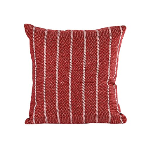 TIFENNY Home Decor Stripe Pillow Case Cotton Linen Cushion Cover (Red Cushion Grip)