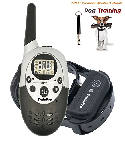 TrainPro Rechargeable Waterproof Electronic Dog Training Shock Collar with Training eBook, 1100 Yard (Cotton Training Collar)