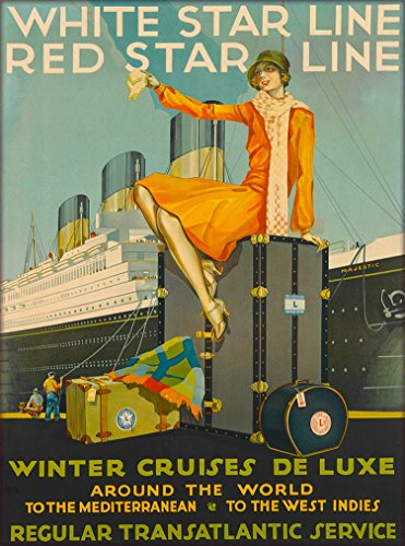 A SLICE IN TIME White Star Red Star Line Winter Cruises Around The World Vintage Ocean Liner Cruise Ship Oceanliner Travel Advertisement Art Poster Print. Measures 10 x 13.5 inches