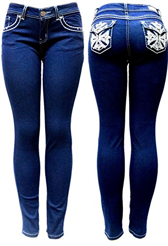 jully-M Premium Sexy Women's Curvy Basic Bootcut Blue Denim Jeans Stretch Pants (5, Skinny Blue) (Cut Boot Skinny Jeans)