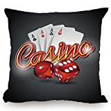 Throw Pillow Cushion Cover,Poker Tournament Decorations,Vibrant Dices and Playing Card Casino Theme Luck Risky Game,Multicolor,Decorative Square Accent Pillow Case