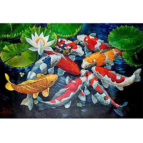(24x34cm)DIY 5D Diamond Painting Full Square Drill Cross Stitch Kits Diamond Embroidery Accessories Koi Fish Animal Mosaic Home Decor