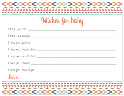 48 Boho Tribal Baby Wish Cards (Coral Pink)