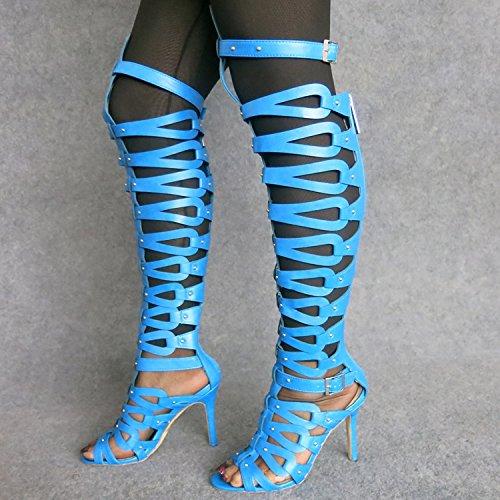 Xing Lin Sandalias De Mujer Super De Moda Ahuecado Roma Botas Candy Color Super Sandalias De Tacón Alto De Mujeres blue