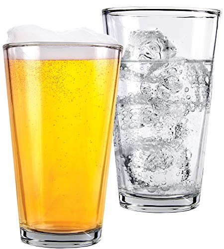 1 Pint Beer Glasses - 2 Pack - Elegant 16 oz Tall Clear Drinking Glass and All Purpose Tumblers - Pub Style Design For Home Dinning, Bars, and Parties - by Kitchen Lux]()