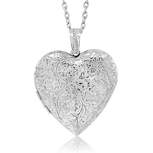 Gem Stone King Locket Pendant Necklace Charm 1.5inches Engraved Flowers Heart Shape + 28 Inch Chain (Necklace Pendant Locket)