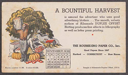 Rourke-Eno Paper Company Hartford CT Bountiful Harvest calendar blotter 11 1938