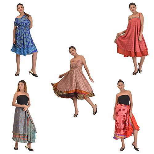 - SalsaNights 5 Reversible Magic Wrap Around Combo Printed Silk Skirt Plus Size