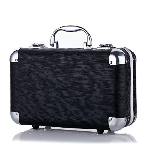 Maúve Carry All Trunk Train Case with Makeup and Reusable Black & White Aluminum Case (BLACK) 2