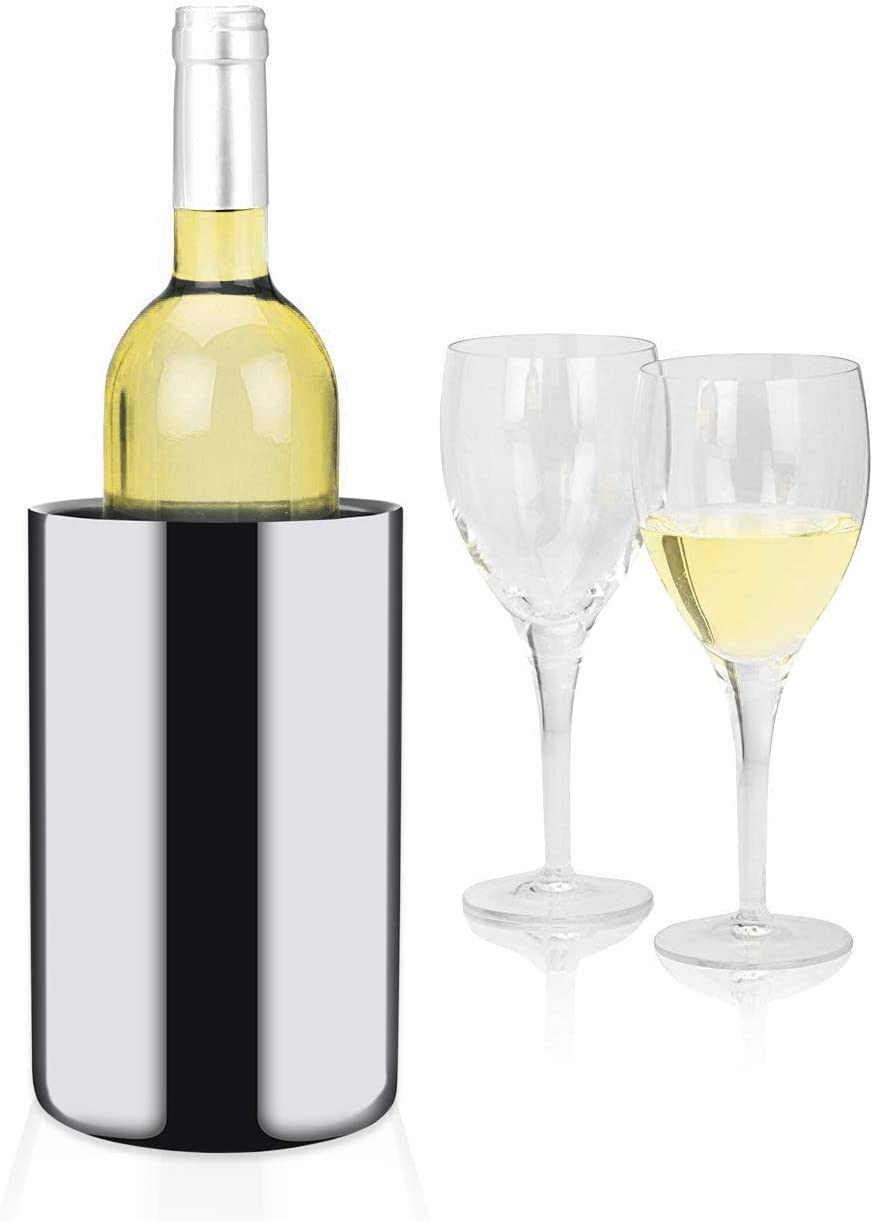 Modern Innovations Stainless Steel 750 mL Wine Chiller - No Ice Needed - Double Wall Insulated Wine Chiller - Mirror Finished Wine Chiller Bucket - 304 Stainless Steel Wine Chiller (Silver)