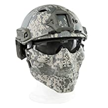 Myheartgoon PJ Type Tactical Fast Helmet & Tactical Mask & Goggle Combination for Airsoft Paintball