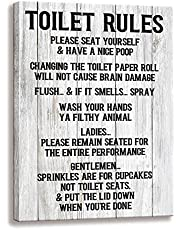 Toilet Rule Sign-Please Seat, Family Wall Art Signs Vintage Bathroom or Toilet Rule Decorative Plaque (12 X 15 inch, Toilet Rules-E)