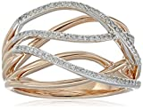 10k White and Pink Gold Diamond Ring (1/5cttw, I-J Color, I2-I3 Clarity), Size 7