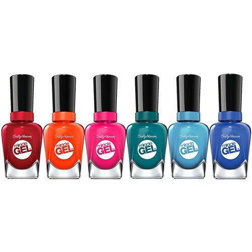(Sally Hansen Miracle Gel, Beatnik, Rhapsody Red, Fish-teal Braid, Tribal Sun, Rhythm & Blue and Tipsy Gypsy Nail Polish Kit with Dimple Bracelet by Sally Hansen)