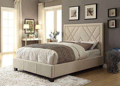 - Modus Furniture 3Z45D420 Vienne Nailhead Patterned Platform Storage Bed, Powder