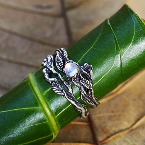 Set of 2 Florence + matching band Engagement Ring Set READY TO SHIP Moonstone ring, Wedding Ring Set, Twig ring, Stacking Rings Set