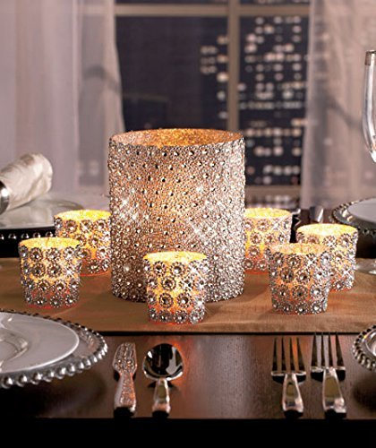 KnlStore Set of 7 Silver Beaded Elegant Sparkling Gems Pillar & Votive Candle Holder Centerpiece - Gems Candlelight