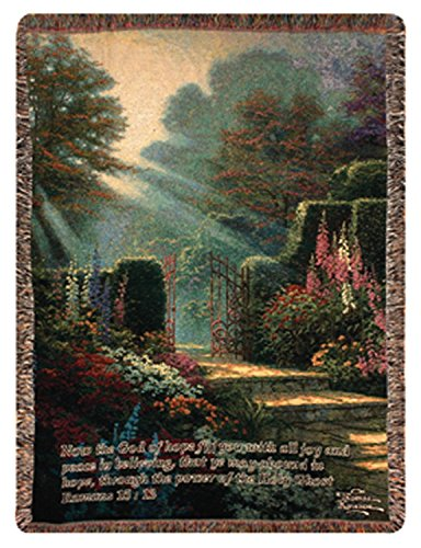 "Manual Weavers Garden of Grace Inspirational Bible Verse Tapestry Throw Blanket 50"" x 60"" from Manual Weavers"