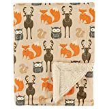 Hudson Baby Printed Mink with Sherpa Backing, Woodland Creatures