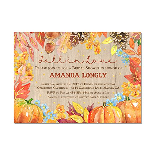 Fall Bridal Shower Invitation, Fall in Love Bridal Shower, Set of 10 5x7 invitations with white envelopes