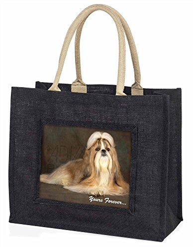 Advanta–Große Einkaufstasche Shih-Tzu Hund Yours Forever Große Einkaufstasche Weihnachtsgeschenk Idee, Jute, schwarz, 42x 34,5x 2cm