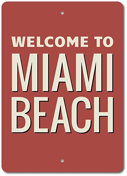 Amazon.com: Luboter Miami Beach - Cartel de metal para pared ...