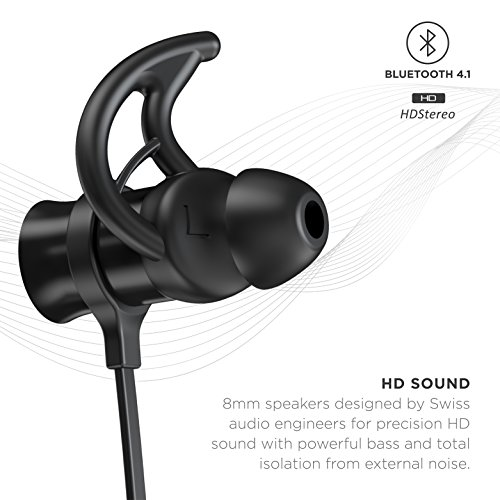 Phaiser BHS-730 Bluetooth Headphones Headset Sport Earphones with Mic and Lifetime Sweatproof Guarantee - Wireless Earbuds for Running, Blackout
