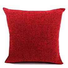 """YJ Bear Linnet European Solid Color Square Cushion Cover Soft Throw Pillow Case Home Decorative Cushion Protector for Sofa/Chair/Couch Burgundy 26"""" X 26"""""""