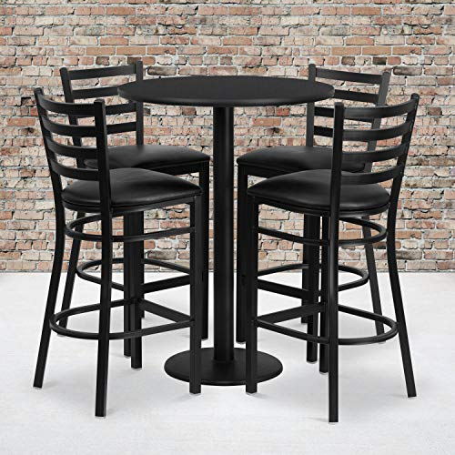 Flash Furniture 30'' Round Black Laminate Table Set with 4 Ladder Back Metal Barstools - Black Vinyl Seat (Flash Furniture 5 Piece Table Set)