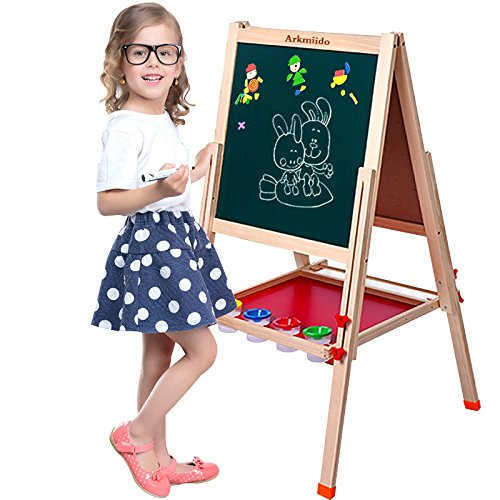 Arkmiido Kids Easel Multi-use Double-sided Wood Whiteboard&Chalkboard with Adjustable Stand and Abundant Art (Supply Stand)