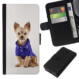 EJOY---La carpeta del tirón la caja de cuero de alta calidad de la PU Caso protector / LG OPTIMUS L90 / --Cachorro Terrier australiano pequeño de la manera perro