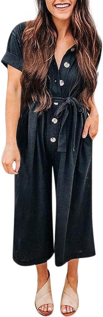 Dream SZ Womens Jumpsuit Summer Casual Short Sleeve Button Long Rompers Jumpsuit